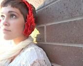 Headband Ear Muffs, Red Satin Fabric Flowers with Rhinestones -- Winter Accessories