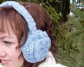 Headband Ear Muffs, Crocheted Blue with Hand Sewn Flower Earmuffs -- Winter Accessories
