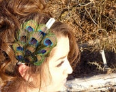 Wedding Formal Peacock Feather Headband - Prom Hair - Flapper Inspired - Ivory Ribbon with Swarovski Crystals