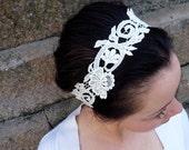 Wedding Bridal Hairpiece, Formal Head Wrap Headband made of Ivory Applique' Flowers