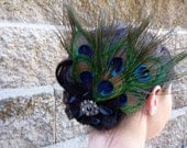 Wedding Formal Peacock Feather Headpiece - Prom Hair - Flapper Inspired - Black Swarovaki Flower Brooch with Lace Flower -- Great Gift