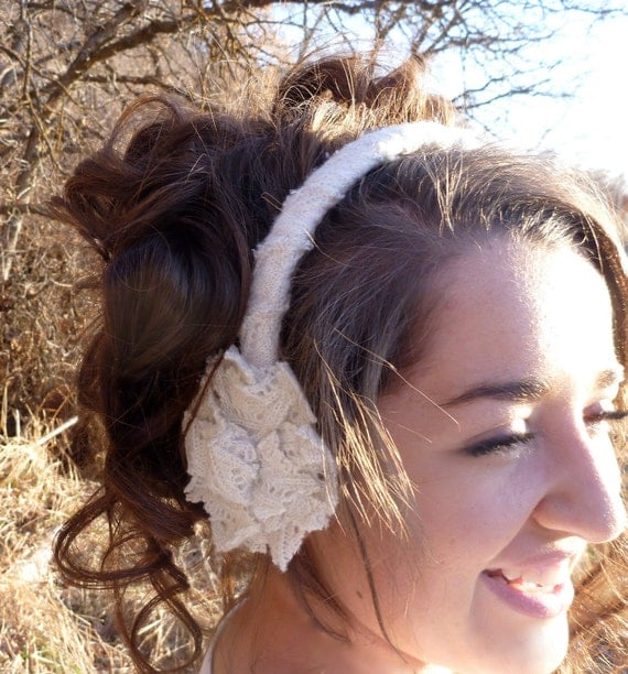 Headband Ear Muffs, Bridal Hair, Winter Wedding -- Shabby Chic Wool with Silver String -- Handsewn Winter Accessories