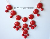 Red Bubble Statement Necklace