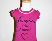Hot Pink Hello My Love Bamboo Girls Top ready to ship in Size 2T & 3T-perfect for valentine's day