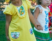 SAMPLE SALE Size 3T Yellow Bamboo Knit Mod Shift Dress for Toddler Girls by Juliette Sunshine Eco-friendly Ready To Ship