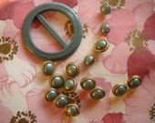Vintage salvaged 1980s retro twelve button and buckle set - gold and jade green