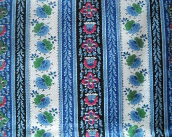 Vintage 1950s French Provencal cotton print nature fabric with stripes of blue flowers with red and green motifs - running quarter meter