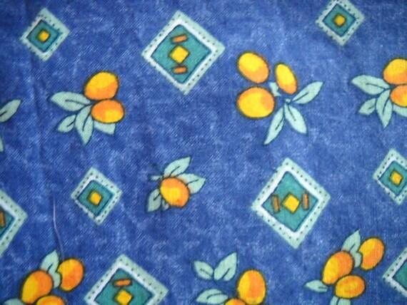 Vintage 1970s Provencal cotton print fabric - royal blue with orange fruits