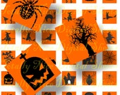 Craft supplies Scrapbooking Digital collage sheet Halloween simple images Orange and black Squares 7/8 X 7/8 Inch No 18787006