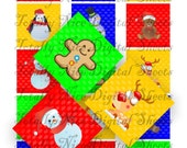 Craft supplies Scrapbooking Digital collage sheet Christmas Characters color images Square 2 X 2 inches 22020134