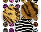 Craft supplies Scrapbooking Digital collage sheet Animal print color images Round 1 X 1 inches No 41010167