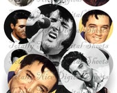 Craft supplies Scrapbooking Digital collage sheet Elvis Presley images Round 2.5 X 2.5 inches 42525102