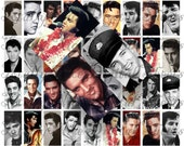 Craft supplies Scrapbooking Digital collage sheet Elvis Presley images Rectangle 1 X 2 inches 31020106