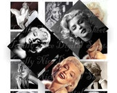Craft supplies Scrapbooking Digital collage sheet Marilyn Monroe vintage color images Square  2 X 2 inches No 22020282