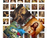 Craft supplies Scrapbooking Digital collage sheet Catholic vintage religious color images Square 1 X 1 inches No 21010324