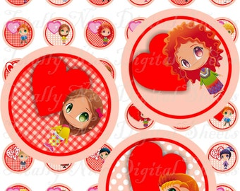 Craft supplies Scrapbooking Digital collage sheet St Valentines kids and hearts color images Round No 41010188