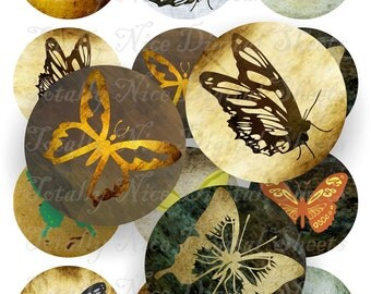 Craft supplies Scrapbooking Digital collage sheet buterfly grunge textures Round No 42525226