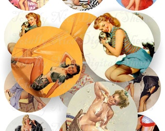 Craft supplies Scrapbooking Digital collage sheet vintage Pin up Girl 1 color images Round 2,5 X 2,5 inches No 42525306