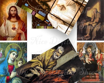 Craft supplies Scrapbooking Digital collage sheet Catholic vintage religious color images Rectangle 3 X 2 inches No 33020327