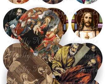 Craft supplies Scrapbooking Digital collage sheet Catholic vintage religious color images Round 2,5 X 2,5 inches No 42525329
