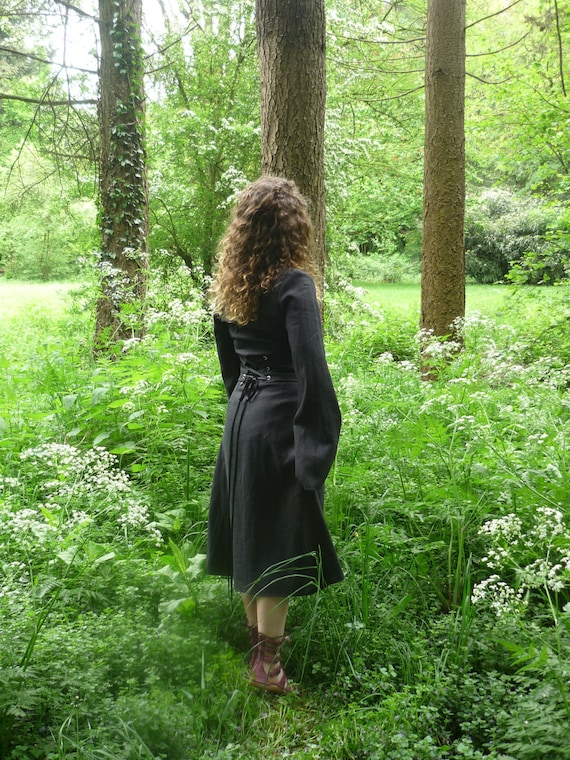 MADE TO ORDER: Black linen pagan Avalon gown with waist band dress druid historical priestess woodland fairy witch goth
