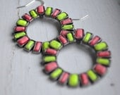 SALE - Neon Yellow and Coral Painted Rhinestone Earrings