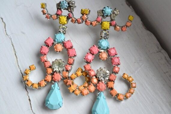 SALE - Hand Painted Vintage Rhinestone Earrings