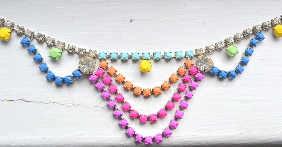 Hand Painted Neon Vintage Rhinestone Necklace