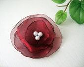 Burgundy Flower Bobby Pin / Organza Hair Clip / Cocktail / Wedding