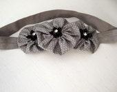 Grey with White Polka Dots Yo Yo Flower Headband / Black Flower with Rhinestone Accents / Adult - Teen Size