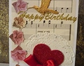 Happy Birthday Humming Bird Card. Mixed media art.