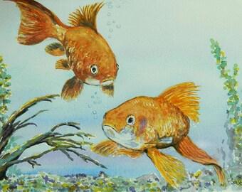 Childrens Decor - Goldfish watercolor painting