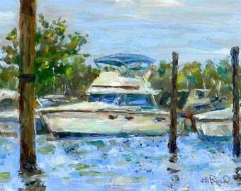 Boats at Harbor - original oil painting home decor