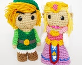 Link and Zelda. FREE SHIPPING. Crochet Amigurumi Plush Dolls - Includes Both Dolls