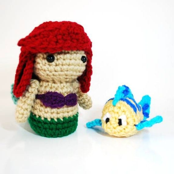 The Little Mermaid Ariel and Flounder Amigurumi Dolls