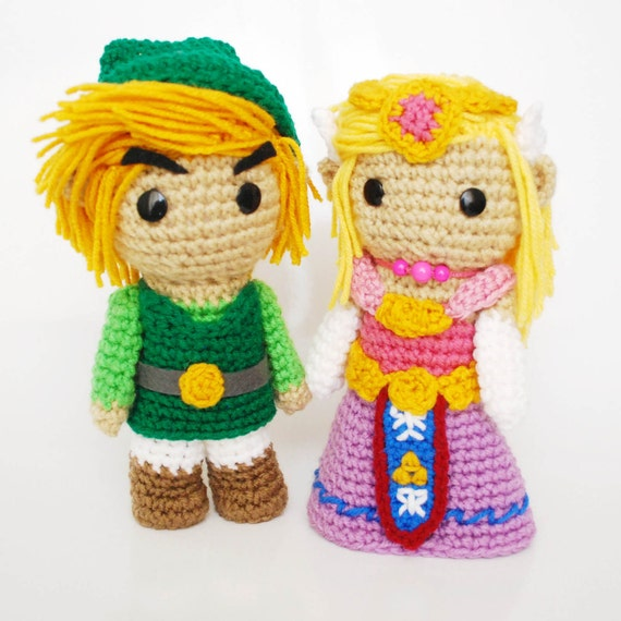 Crochet Zelda Patterns : Link and Zelda. FREE SHIPPING. Crochet Amigurumi by RoseberryArts