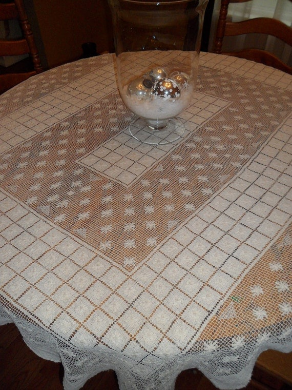 Hand knotted vintage table cloth