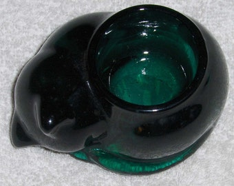 Vintage Emerald Green Indiana Glass Cat Figurine Ohio USA Jade Green Tea Light Candle Holder Paperweight