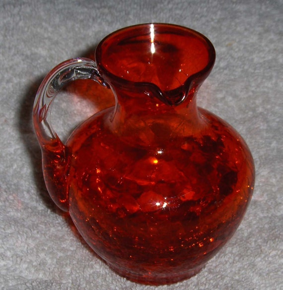 Vintage RUBY RED Crackle Glass Pitcher Decorative Collectible Art Glass Hand Blown Pitcher Vase