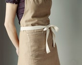 Apron, Brown Linen with Ivory Twill and stitching. MADE TO ORDER. Simple, modern.