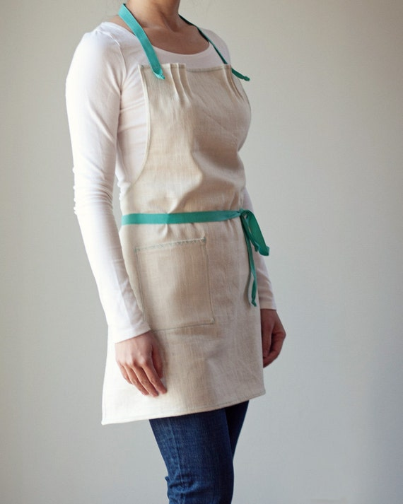 Apron, Linen with Aqua Blue Twill and light blue stitching. Simple, modern.