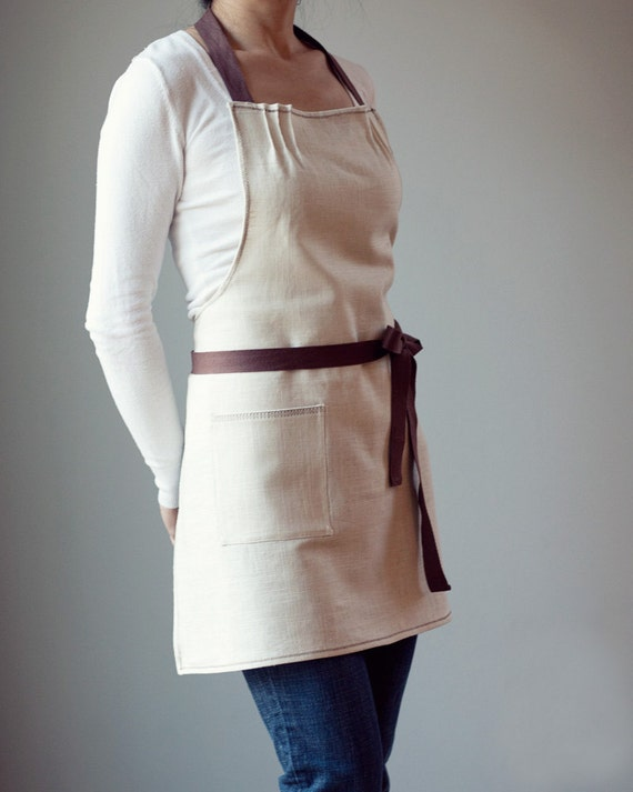 Apron, Linen with Chocolate Brown Twill and brown stitching. MADE TO ORDER. Simple, modern.