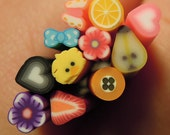 10 pcs - Assorted Mix Collection 1 (2.5cm long) - Nail Decoration Scrapbooking Fruit Fimo Cane - Polymer Clay Cane