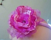 Ribbon Flower Headband / Pink on Pink flower with a pretty pearl in center headband