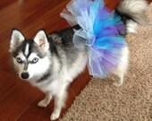 Dog Tutu - Purple Turquoise & Baby Blue Shimmer - Small Tutu - Pet Fashion