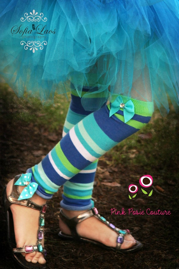 Leg Warmers with BOW & BLING - Infant - Toddler - Youth - Child - You choose colors