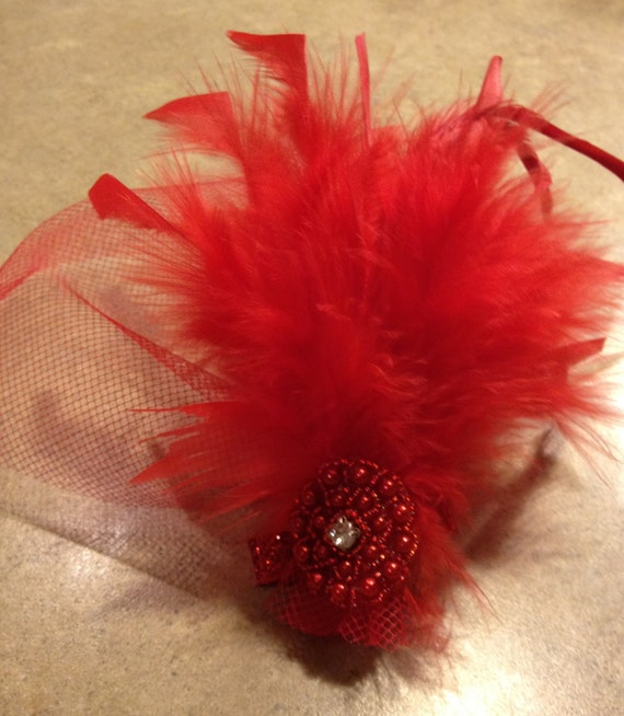 Red Feather Fascinator - Red Hat Society - Youth to Adult - Weddings - Photo Shoots