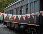 Upcycled ALL ABOARD Burlap Banner (Red with Turquoise Blue Felt Backing) - Eco Friendly Home Decor for Train Enthusiast