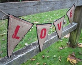 Upcycled LOVE Burlap Banner (Red with Black Felt Backing) Eco-Friendly Home or Wedding Decor