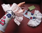 Upcycled Steampunk Gauntlets, Lips, Circus Costume Accessory, Light Blue with Pink and Blue Lips - White Lace Trim, Valentine's Day